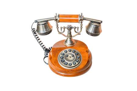 corded: Vintage Telephone isolated on White Background