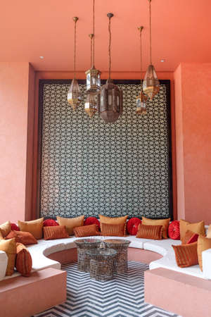 traditional Arabic place for relax, living room with authentic armchair and decoration