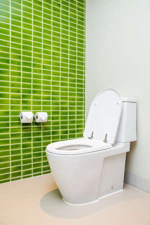 Clean, white  toilet and paper rolls with Lime green mosaic tiles wall bathroom photo