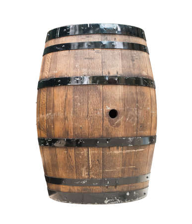 wood staves: Wooden barrel for wine with steel ring. Clipping path included.