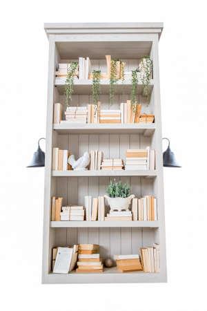 classic book shelf isolate on white background photo