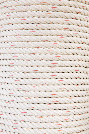 lose up: lose up view of  white polyester ropes Stock Photo