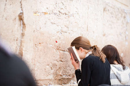 sephardi: young hasidic jew at the wailing western wall, jerusalem, israel