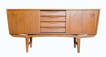 retro Television kabinet isoleren op een witte achtergrond Stockfoto