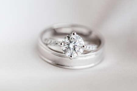 diamond rings: Wedding diamond rings on the black background Stock Photo