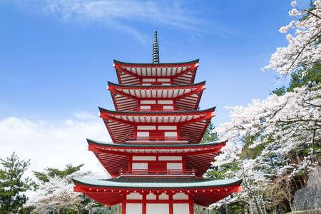 chureito: Chureito Pagoda in spring, Fujiyoshida, Japan