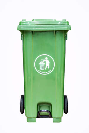 environmental awareness: Green plastic dust bin isolated over white background.