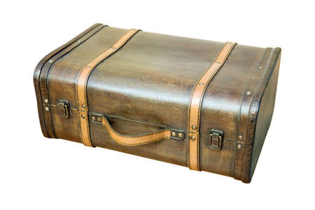 vintage objects: Vintage suitcase isolate on white background