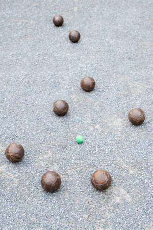 petanque: Petanque balls on the ground