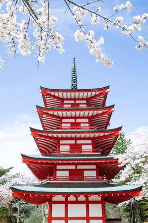 Chureito Pagode im Frühjahr, Fujiyoshida, Japan Standard-Bild - 46257125