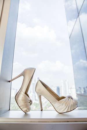 footwear: Female wedding footwear Stock Photo