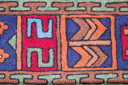 oriental rug: Beautiful colorful fabric design in indian style