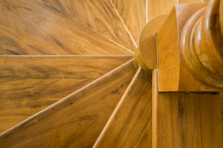 close up detail of wooden stair case Stock Photo