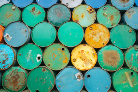brent crude: background of oil tanks stacked in a row Stock Photo
