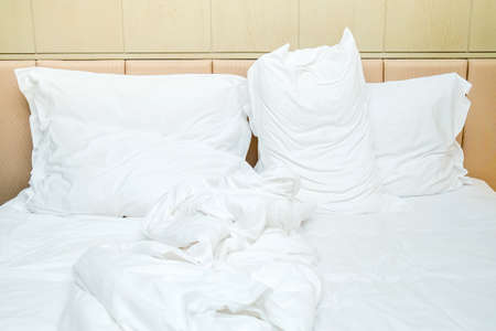 unmade: View of an unmade bed Stock Photo
