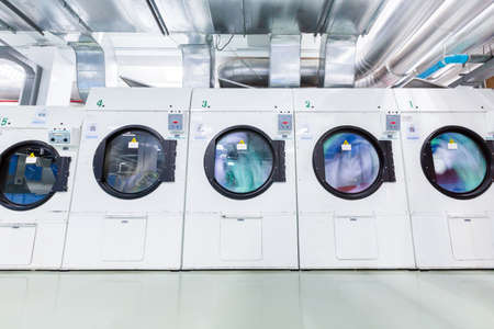 laundrette: water spinning in Dryers machine Stock Photo