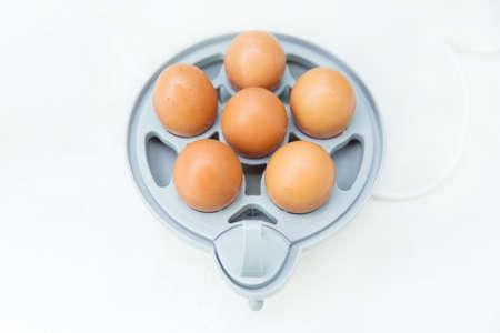 MAQUINA DE VAPOR: huevo en vapor el�ctrico m�quina de huevo aislado en el fondo blanco Foto de archivo