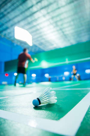 racket sport: badminton - badminton courts with players competing
