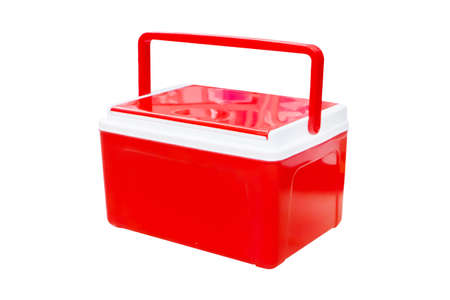 ice chest: Handheld red refrigerator isolated over white background.