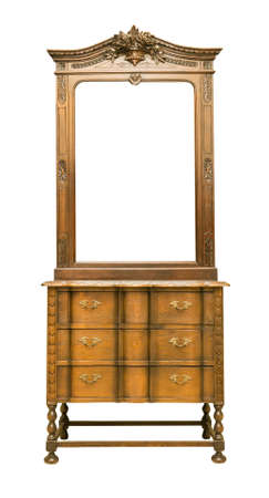 dressing: Antique Dressing Table with wood frame Mirror isolated on white background