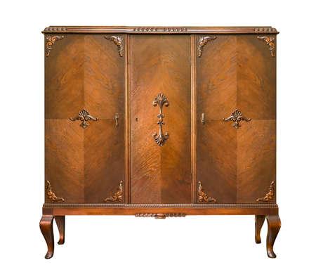 arredamento classico: armadietto di legno isolato su sfondo bianco