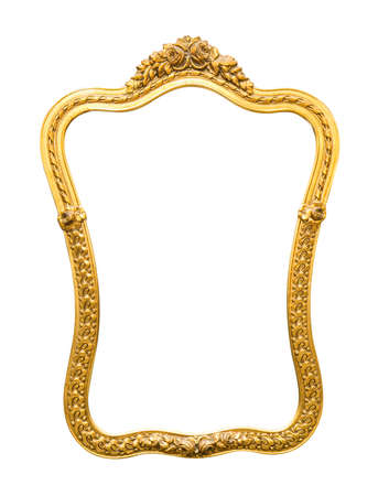 photo of pattern: The antique gold frame on the white background