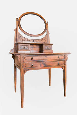 mirror frame: Antique Dressing Table with wood frame Mirror isolated on white background