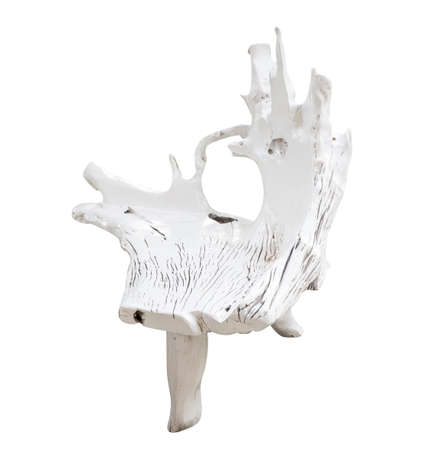 timber bench seat: White chairs made from tree root