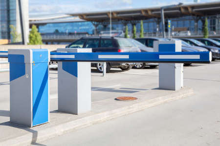 Barrier on the car parking 스톡 콘텐츠