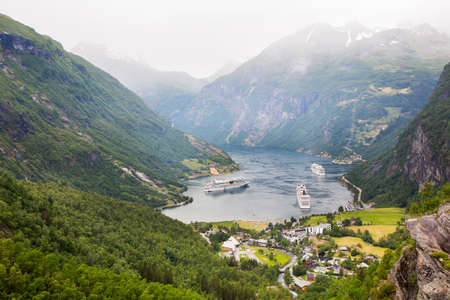 protuberance: Geiranger fjord, Norway on cloudy day
