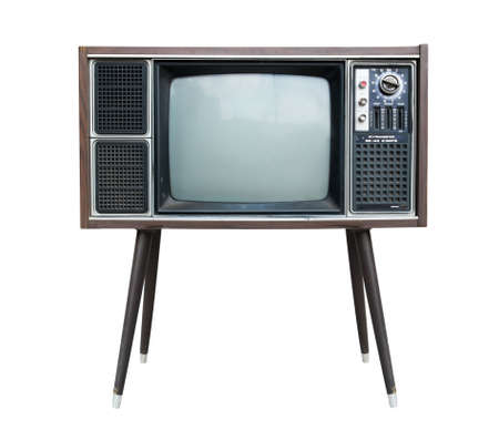 television broadcasting: vintage television isolated with clipping path Stock Photo