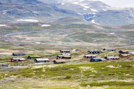 a rural community: Norwegian houses on mountain Stock Photo