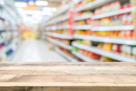 Wood floor and Supermarket blur background, Product display, template, business concept