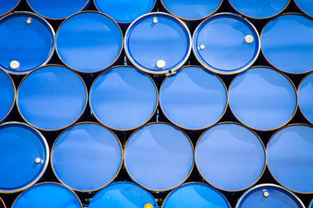 brent: Background of oil tanks stacked in a row - vintage filter Stock Photo