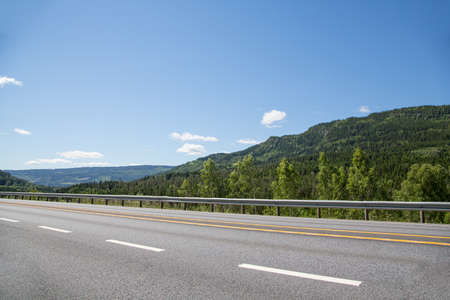 sea cliff: highway landscape, norway Stock Photo