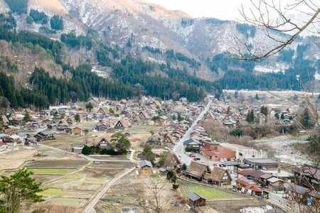 shirakawa go: Shirakawa Go (Shirakawa-go) Beautiful Panorama Aerial View of The Historic Village and Cherry Blossom Sakura in Spring Season – Shirakawago Traditional Houses in the Gassho Zukuri Style, Gifu, Japan