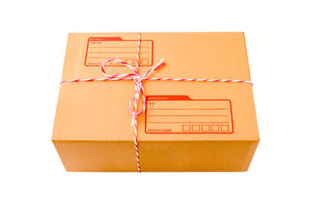 stockpiling: Small packet of brown card board box with address and sender space. Stock Photo
