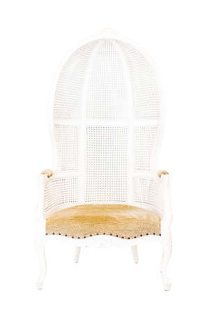 old styled: Old styled white vintage armchair isolated on white background Stock Photo