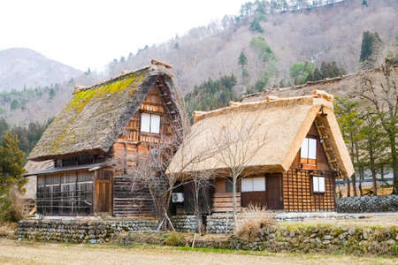 world cultural heritage: Gassho Zukuri (Gassho-style) Houses in Suganuma area of Gokayama, Japan. Gokayama was registered as an UNESCO World Cultural Heritage site Historic Villages of Shirakawa-go and Gokayama in 1995.