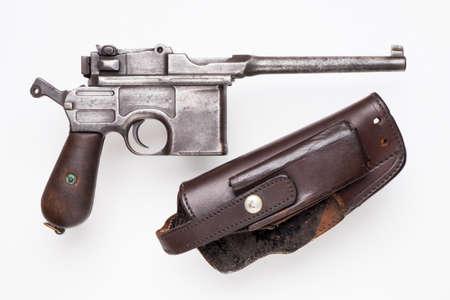 vintage submachine gun Mauser isolated on background Stock fotó