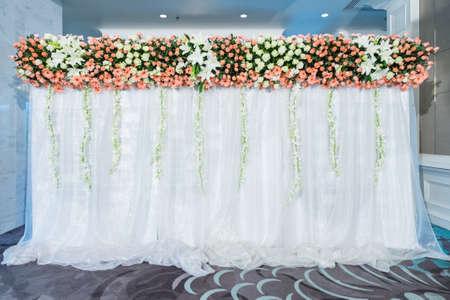 wedding backdrop: backdrop flowers arrangement for wedding ceremony Stock Photo