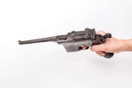 flintlock: vintage submachine gun Mauser isolated on background Stock Photo
