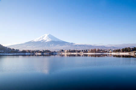 Mt Fuji at lake Kawaguchiko Stock Photo