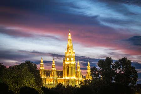 Viennas Town Hall (Rathaus) in twilight