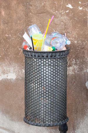 Bin full of rubbish Stock Photo