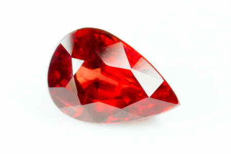 dazzlingly: Red sapphire isolated on white background