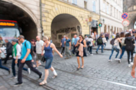 crowded street: Crowded street in Pargue, Czech Republic. blurred background