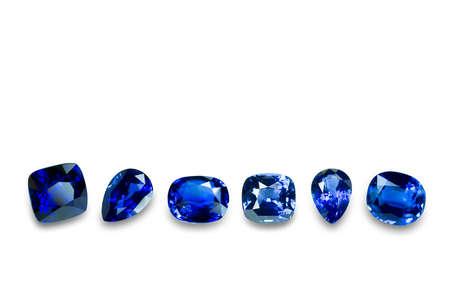 tsavorite: Blue sapphire isolated on white background