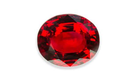 tsavorite: Red sapphire isolated on black background