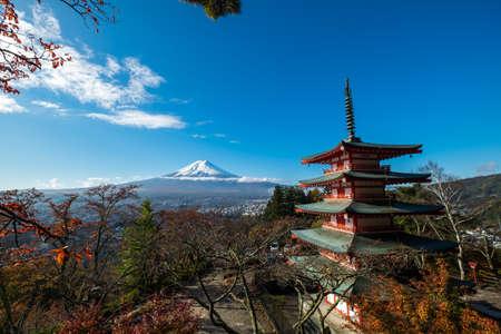 sengen: Mt. Fuji with red pagoda in autum, Fujiyoshida, Japan Editorial
